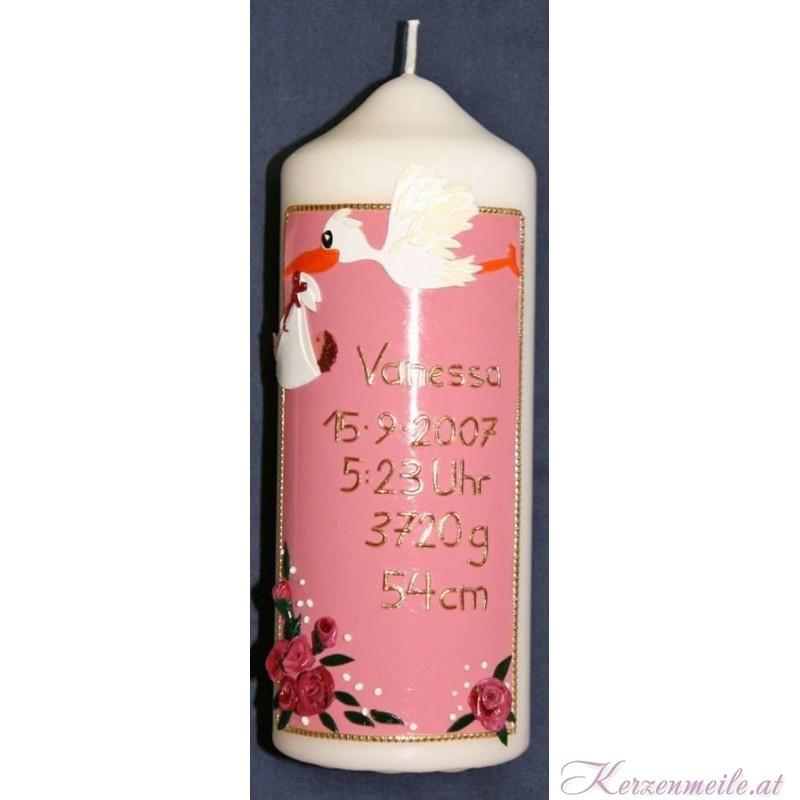 Geburtskerze Storch Rosa Geburts- u. Lebenskerzen