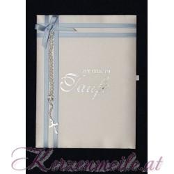 Taufbrief Rosenkranz blau