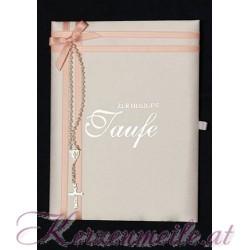 Taufbrief Rosenkranz rosa