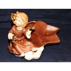 Keramikengel mit Schale - Braun