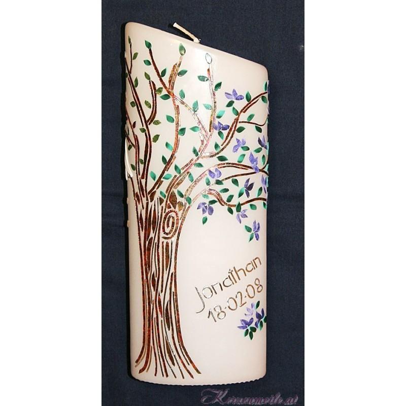 Kerze Lebensbaum Vier Jahreszeiten 3 Taufkerzen-exklusiv