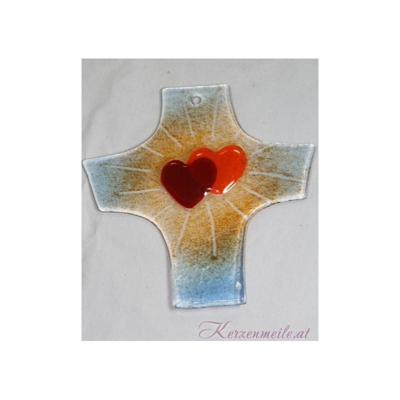 Glaskreuz Herzen