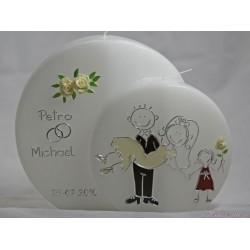 Hochzeitskerze Comic-Brautpaar mit Kind Hochzeitskerzen-lustig
