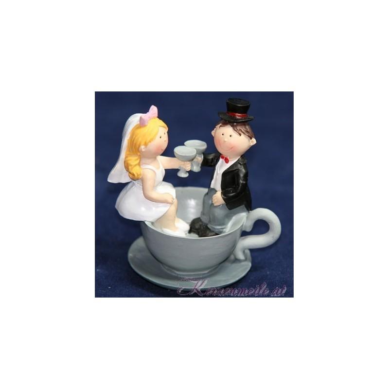 Tortenfigur Brautpaar im Tasse Tortenfiguren