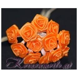 Satinröschen orange Gaesteanstecker selber basteln