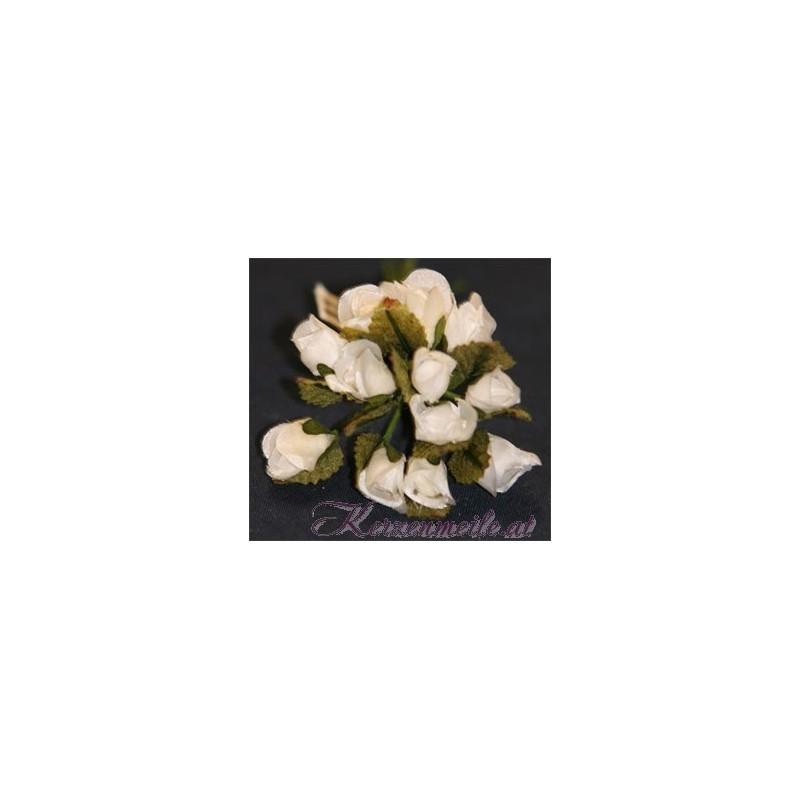 Röschen weiß mit Blatt Gaesteanstecker selber basteln
