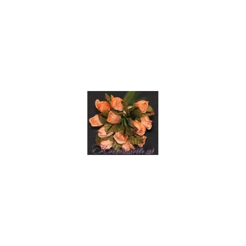 Röschen apricot mit Blatt Gaesteanstecker selber basteln