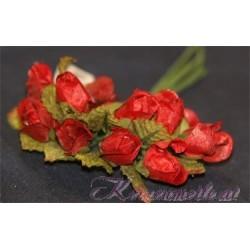 Röschen rot mit Blatt Gaesteanstecker selber basteln
