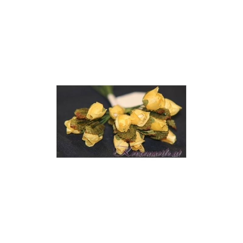 Röschen gelb mit Blatt Gaesteanstecker selber basteln