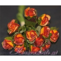 Röschen orange-rot mit Blatt