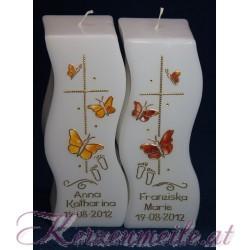 Taufkerze Schmetterlinge Taufkerzen-exklusiv