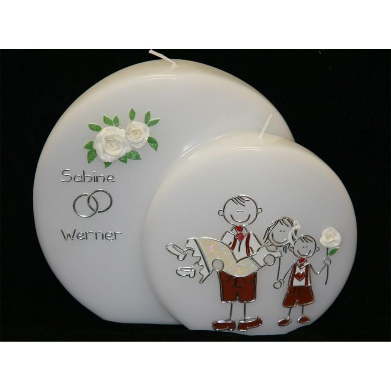 Hochzeitskerze Trachtenpaar mit 1 Kind Hochzeitskerzen-lustig