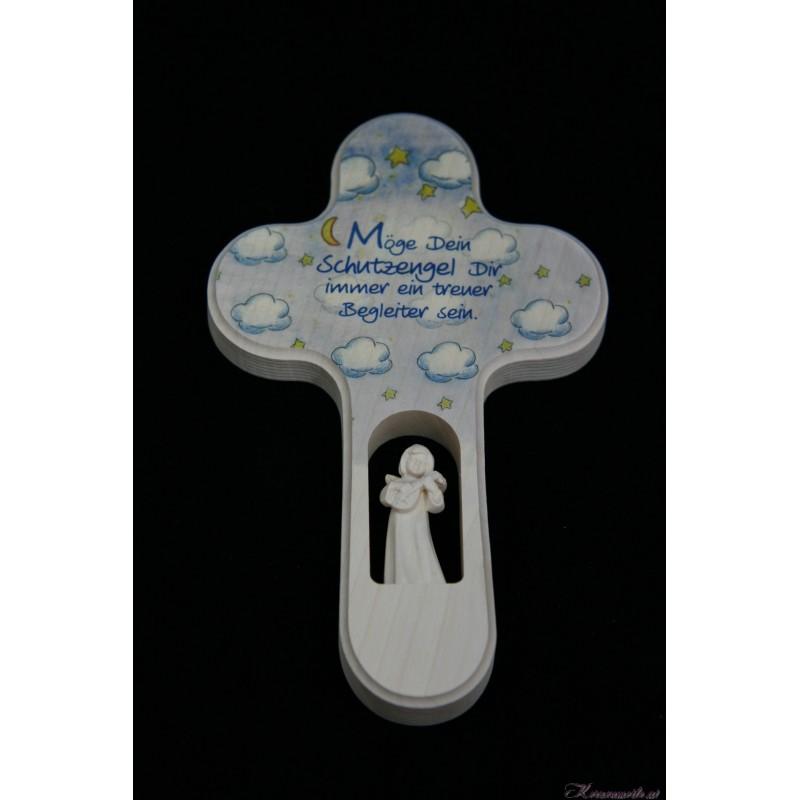 Holzkreuz Wolke mit Schutzengel