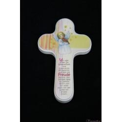 Holzkreuz Engel mit Geige 2