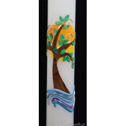 Taufkerze Brauner Baum Taufkerzen-farbenfroh
