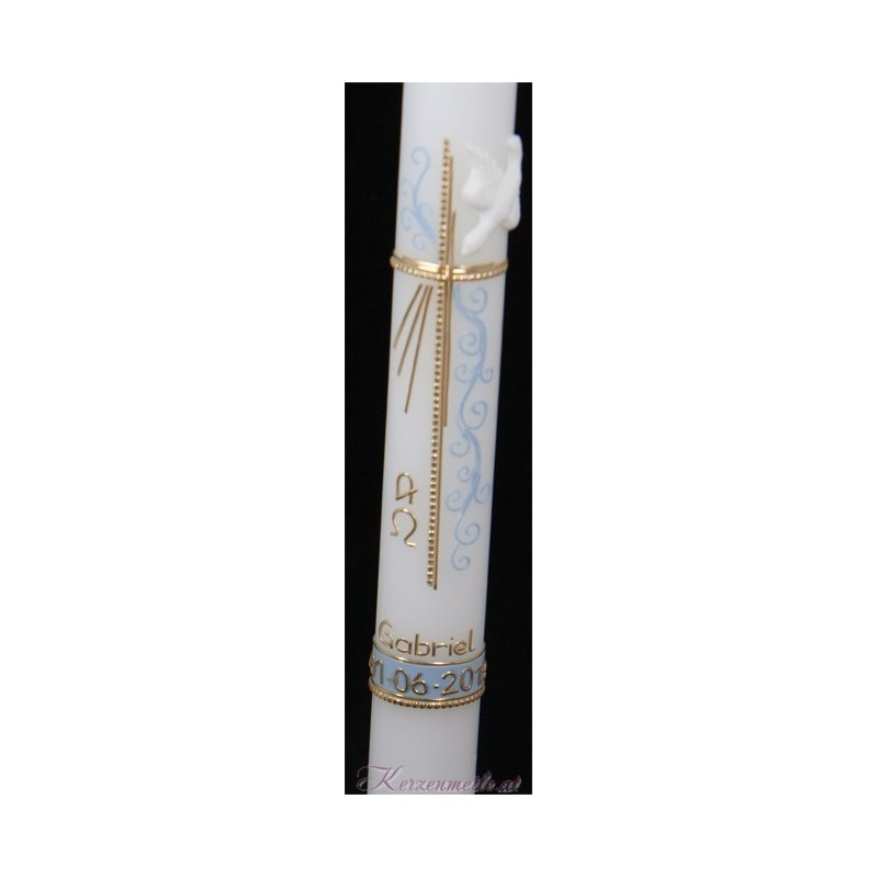 Taufkerze Blue Ornament Taufkerzen-exklusiv