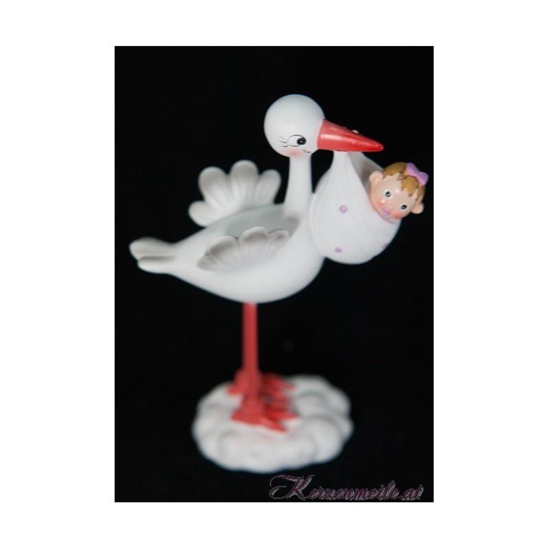 Dekorationsfigur Storch Mädchen Dekoration Taufe