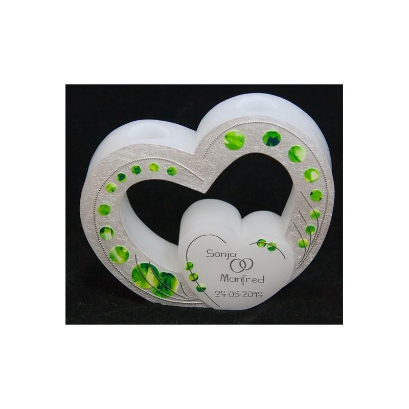 Hochzeitskerze Green Dots Hochzeitskerzen mit Teelicht