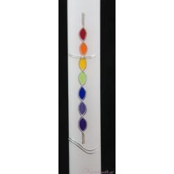 Taufkerze Regenbogenkreuz Taufkerzen-farbenfroh
