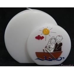 Hochzeitskerze Comicbrautpaar im Boot Hochzeitskerzen-lustig