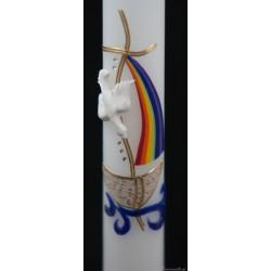 Taufkerze Regenbogenschiff Taufkerzen-farbenfroh