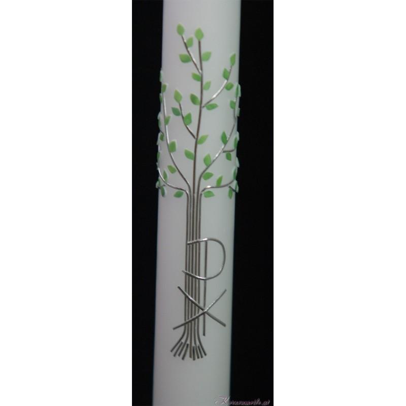Taufkerze Mit grünen Blättern Taufkerzen-klassisch elegant