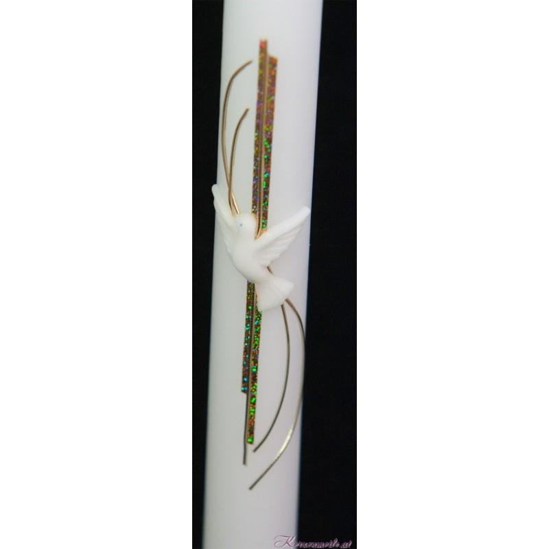 Taufkerze mit weißer Taube gold Taufkerzen-modern