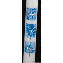 Taufkerze dreiteiliges Motiv blau Taufkerzen-modern