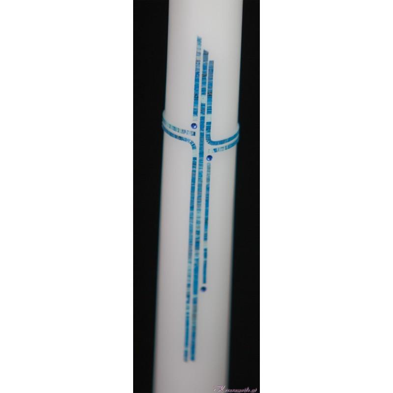 Taufkerze Kreuz schlicht blau Taufkerzen-klassisch elegant