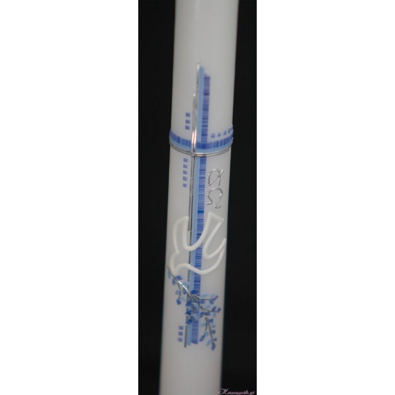 Taufkerze Taube mit Zweig in blau Taufkerzen-modern