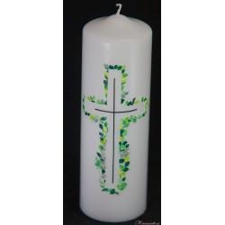 Trauerkerze Kreuz aus Blättern