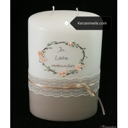 Hochzeitskerze Vintage Pastell