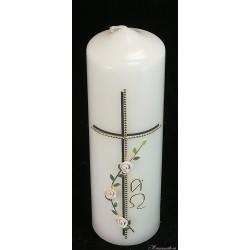 Trauerkerze Weiße Rosen